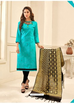 Turquoise Cotton Satin Thread Embroidered Suit