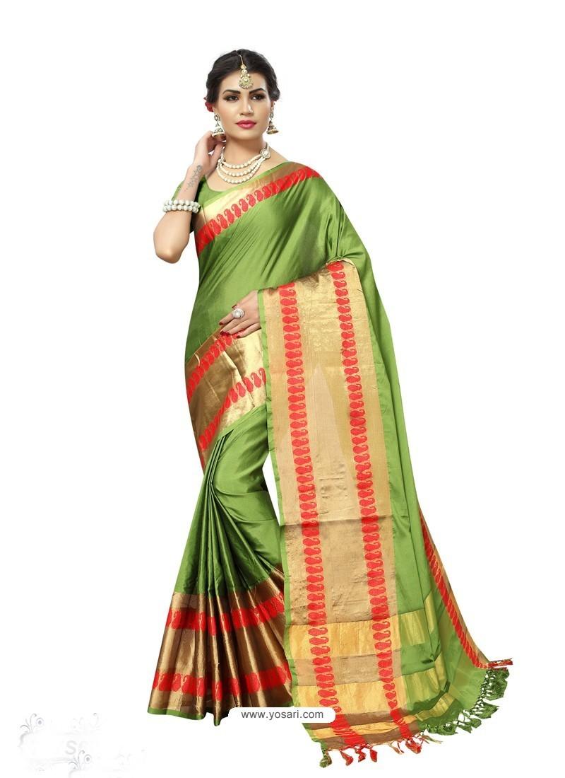 Splendid Green Poly Silk Saree