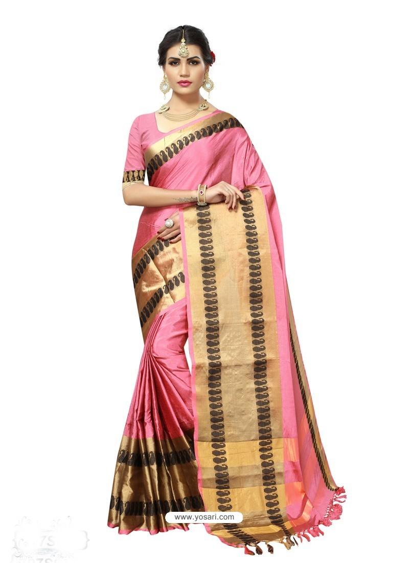 Amazing Pink Poly Silk Saree