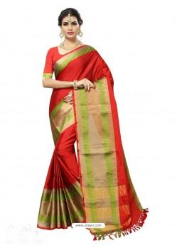 Latest Red Poly Silk Saree