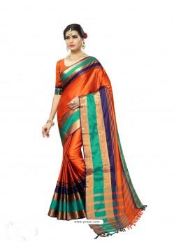Competent Orange Poly Silk Saree