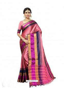 Marvelous Pink Poly Silk Saree