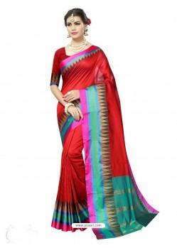 Gorgeous Red Poly Silk Saree