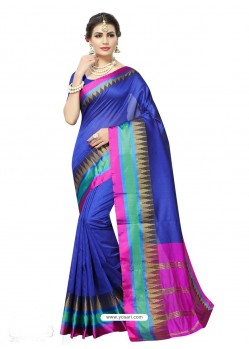 Incredible Blue Poly Silk Saree