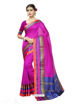 Exceptional Pink Poly Silk Saree