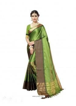 Magnificent Green Poly Silk Saree