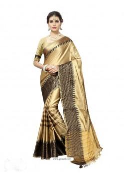 Modern Golden Poly Silk Saree