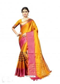 Markable Yellow Poly Silk Saree