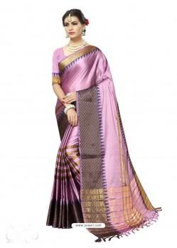 Glowing Mauve Poly Silk Saree