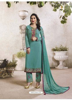 Teal Georgette Embroidered Suit