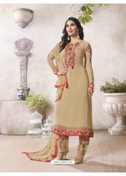 Beige Georgette Embroidered Suit