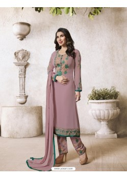 Dusty Pink Georgette Embroidered Suit