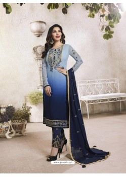 Navy Blue Georgette Embroidered Suit