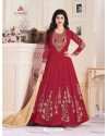 Wine Georgette Embroidered Floor Length Suit