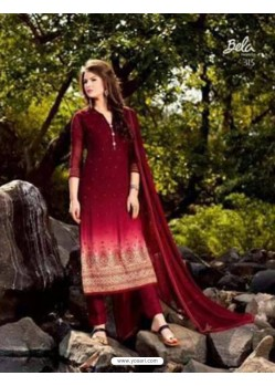Wine Georgette Embroidered Suit