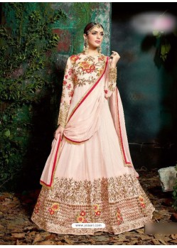 Baby Pink Georgette Embroidered Floor Length Suit