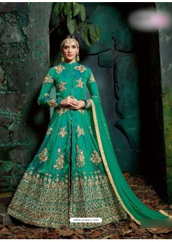 Aqua Mint Georgette Embroidered Floor Length Suit