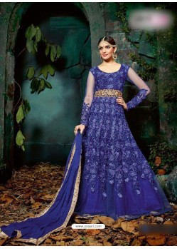 Royal Blue Georgette Embroidered Floor Length Suit