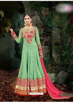 Sea Green Georgette Embroidered Floor Length Suit