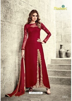 Wine Velvet Floor Length Suit