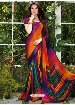 Multicolor Print Work Saree
