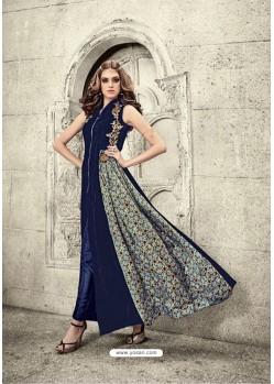 Navy Blue Velvet Floor Length Suit