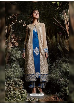 Blue Faux Georgette Embroidered Suit
