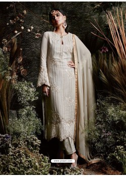 Silver Faux Georgette Embroidered Suit