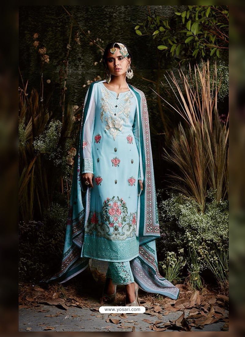 Sky Blue Faux Georgette Embroidered Suit