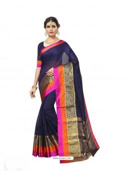 Navy Blue Chanderi Silk Jacquard Work Saree