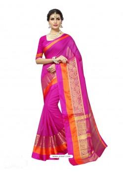 Magenta Chanderi Silk Jacquard Work Saree