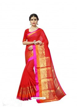 Red Chanderi Silk Jacquard Work Saree