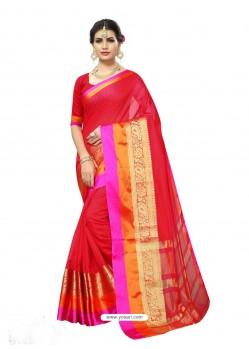 Traditonal Red Chanderi Silk Jacquard Work Saree