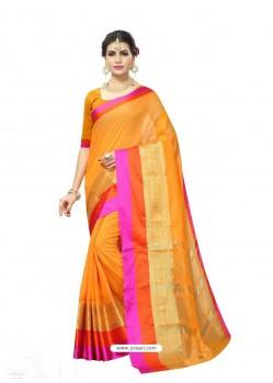 Yellow Chanderi Silk Jacquard Work Saree