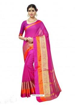 Pink Chanderi Silk Jacquard Work Saree