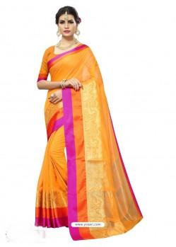 Traditonal Yellow Chanderi Silk Saree