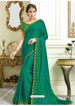 Dark Green Jacquard Silk Embroidered Saree