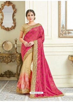 Fuchsia Imported Coated Embroidered Saree