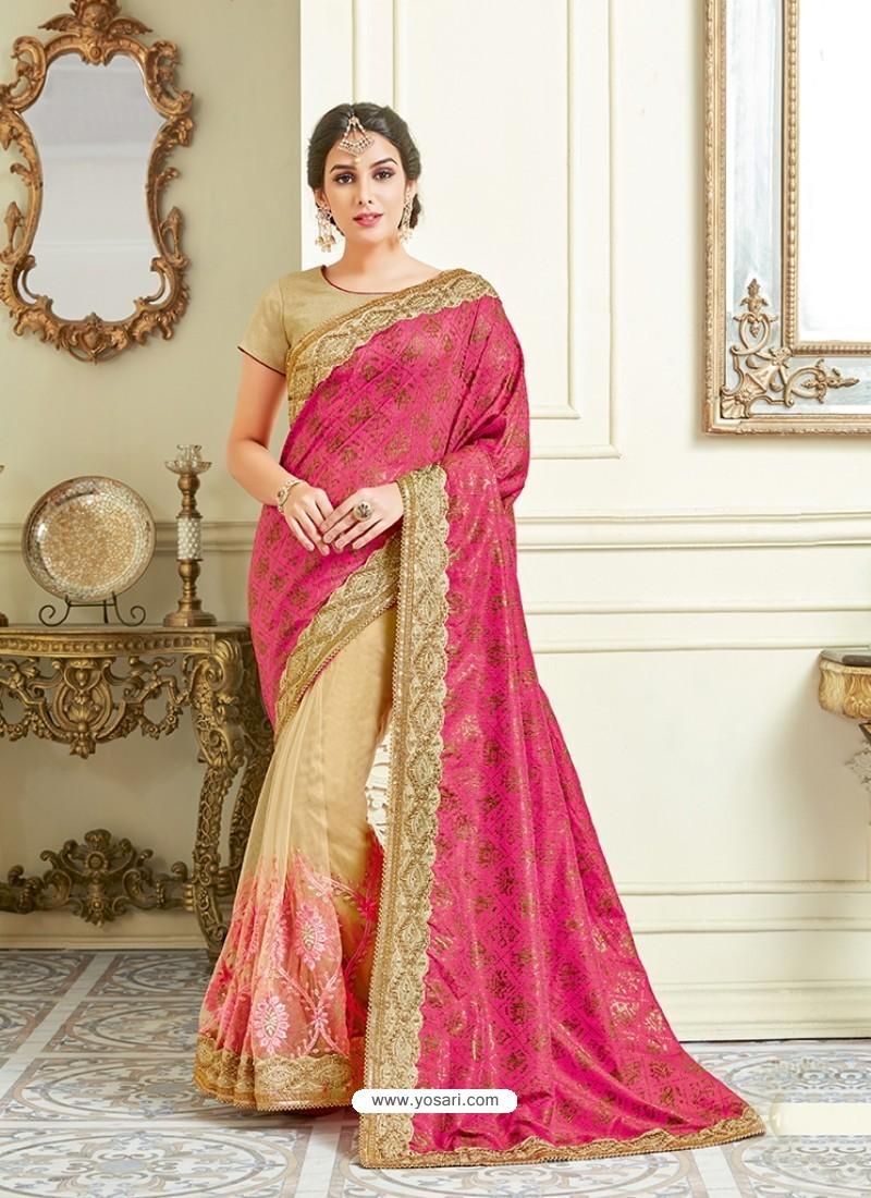 Fuchsia Imported Coated Embroidered Saree