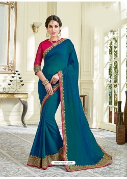 Tealblue Imported Coated Embroidered Saree
