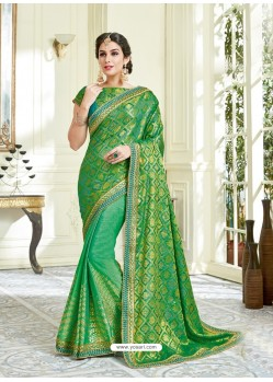 Green Imported Coated Embroidered Saree