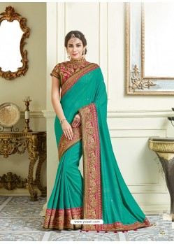 Aqua Mint Imported Coated Embroidered Saree