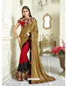 Golden Imported Coated Embroidered Saree