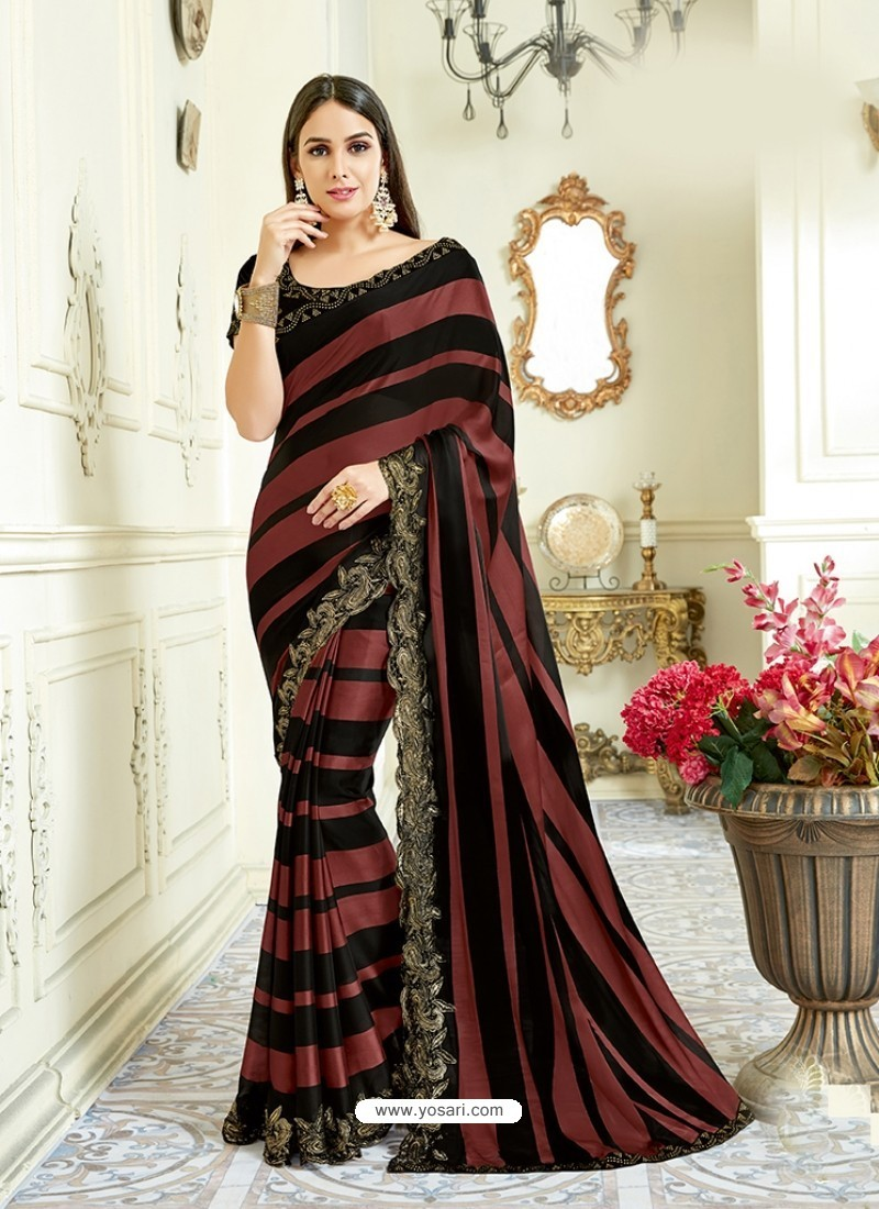 Multi Colour Imported Coated Embroidered Saree