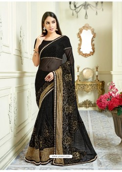 Black Imported Coated Embroidered Saree