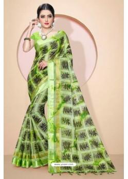 Green Kota Silk Cotton Casual Saree