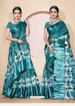 Teal Kota Silk Cotton Casual Saree