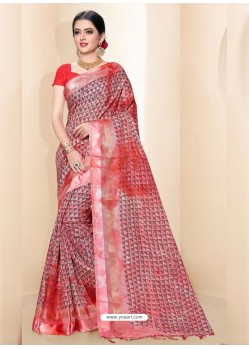 Pink Kota Silk Cotton Casual Saree