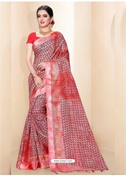 Pink Kota Silk Cotton Casual Saree