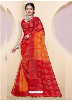 Red Kota Silk Cotton Casual Saree